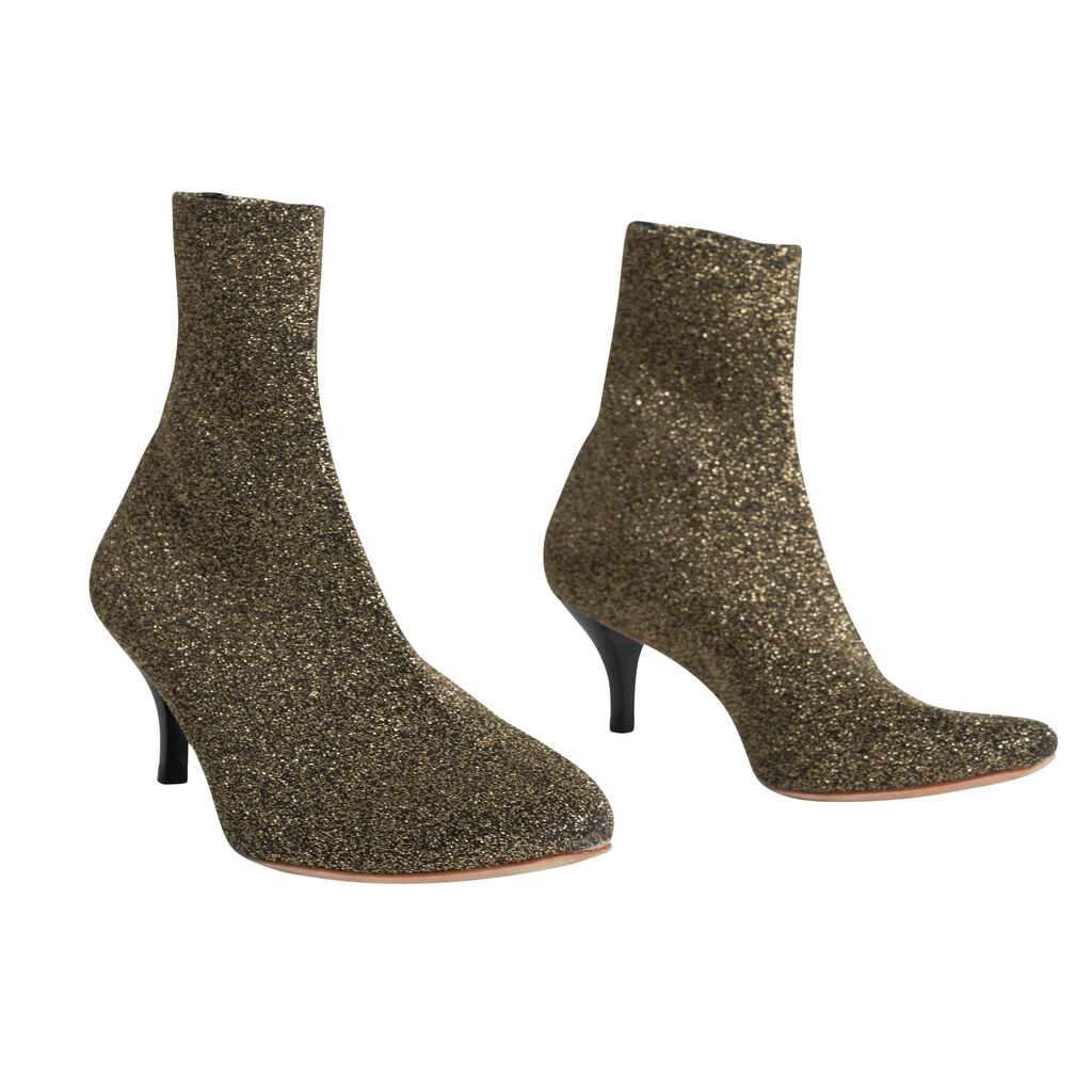 Loeffler Randall Women's Kassidy-Knit Ankle Boot - Black Glitter