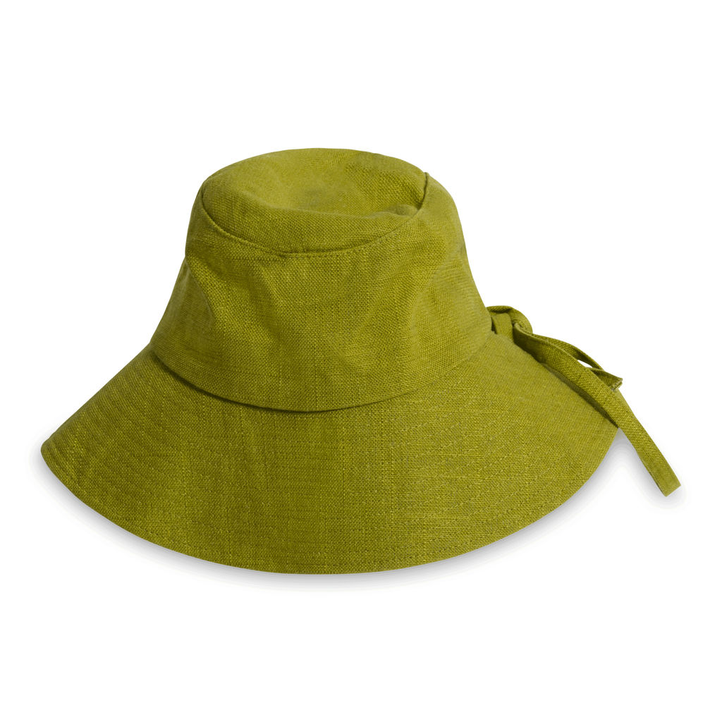 Vintage Linen Summer Bucket Hat in Green