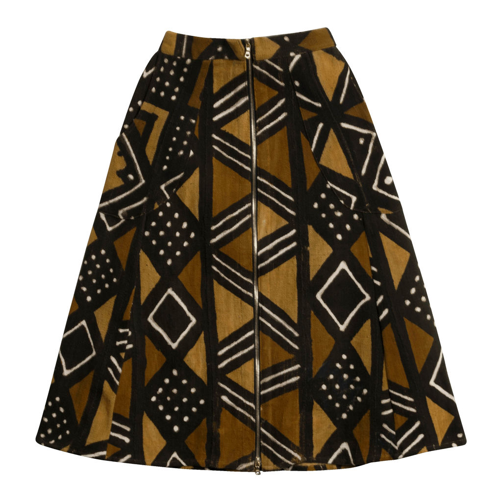 Studio 189 Brown Bogolan A-Line Skirt
