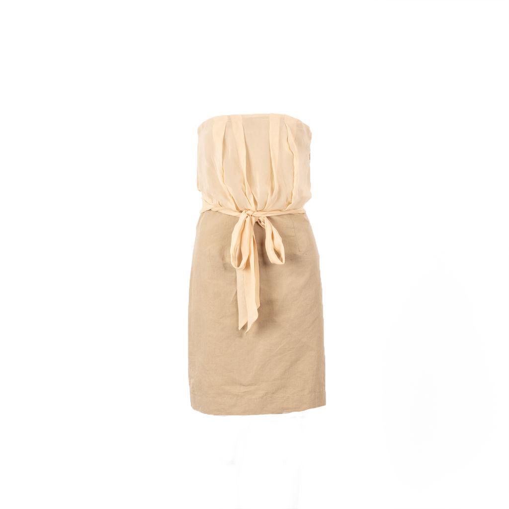 Valentino Red Strapless Georgette Mini Dress