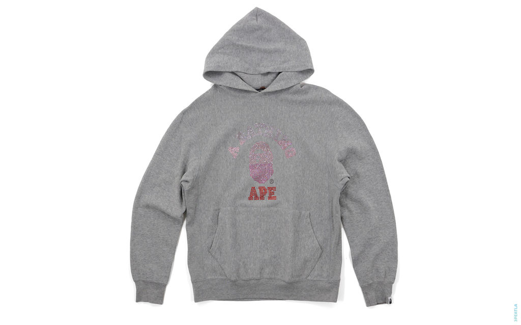 Bapexclusive All Swaro College Logo Pullover Hoodie grey pink