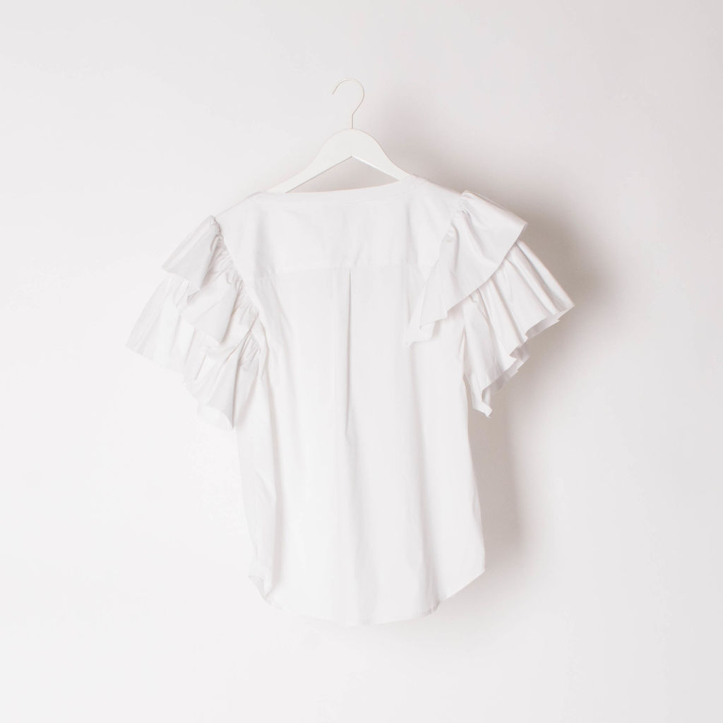 7 For All Mankind Buttoned Blouse with Ruffle Sleeves