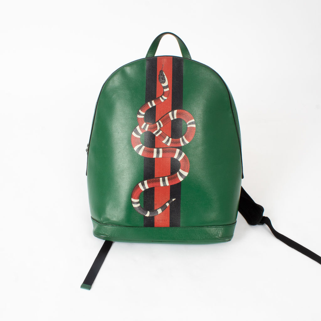 1abe984fc9ab Gucci Snake Printed Leather Backpack | Basic Space