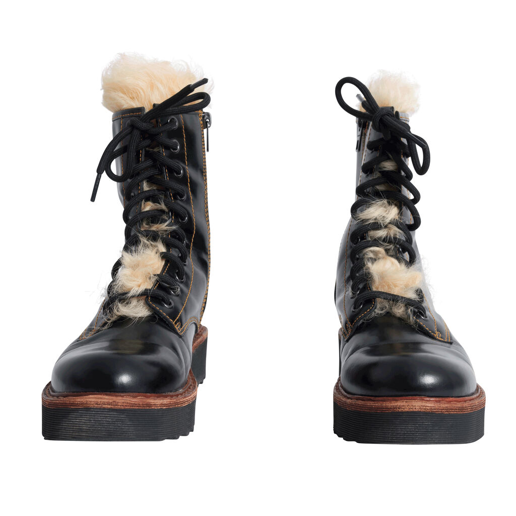 Coach Moto Hiker Boot with Cream-Colored Shearling