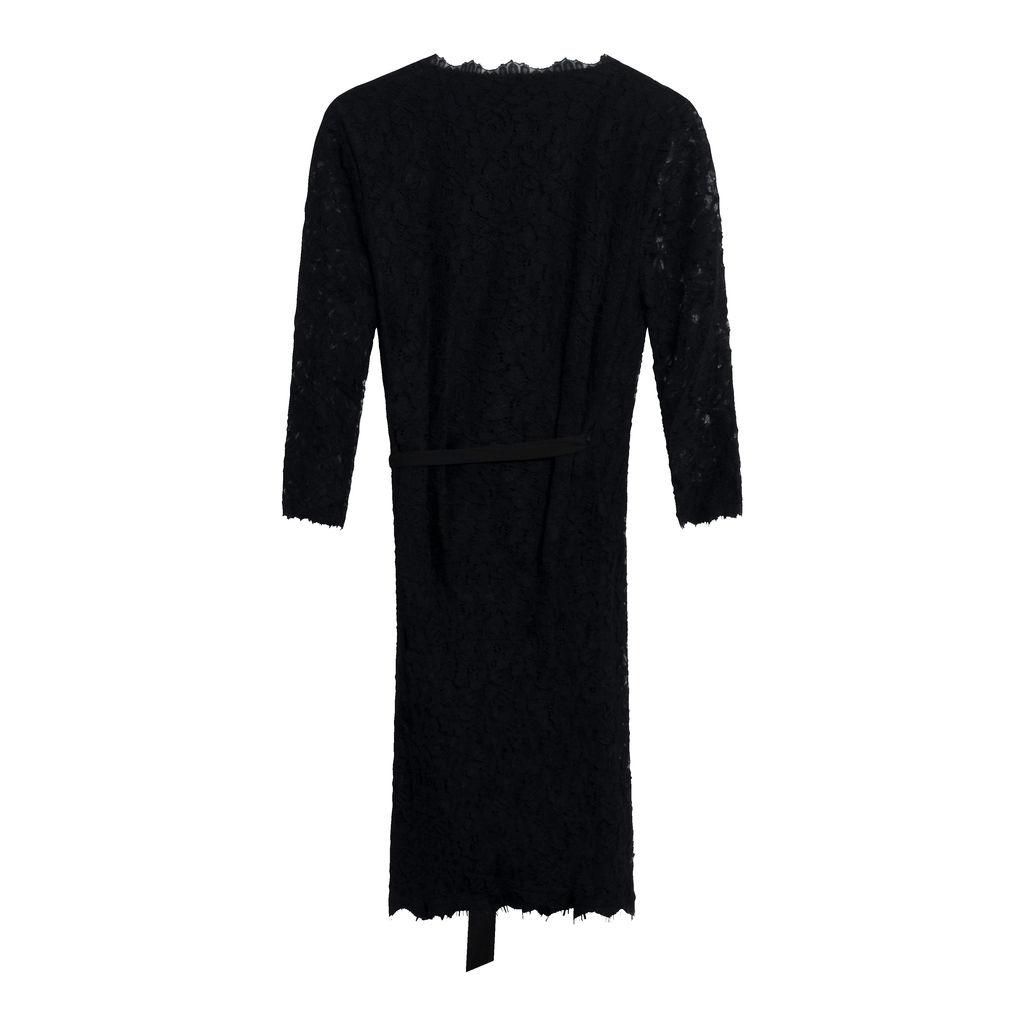 Diane Von Furstenberg Black Lace Wrap Dress