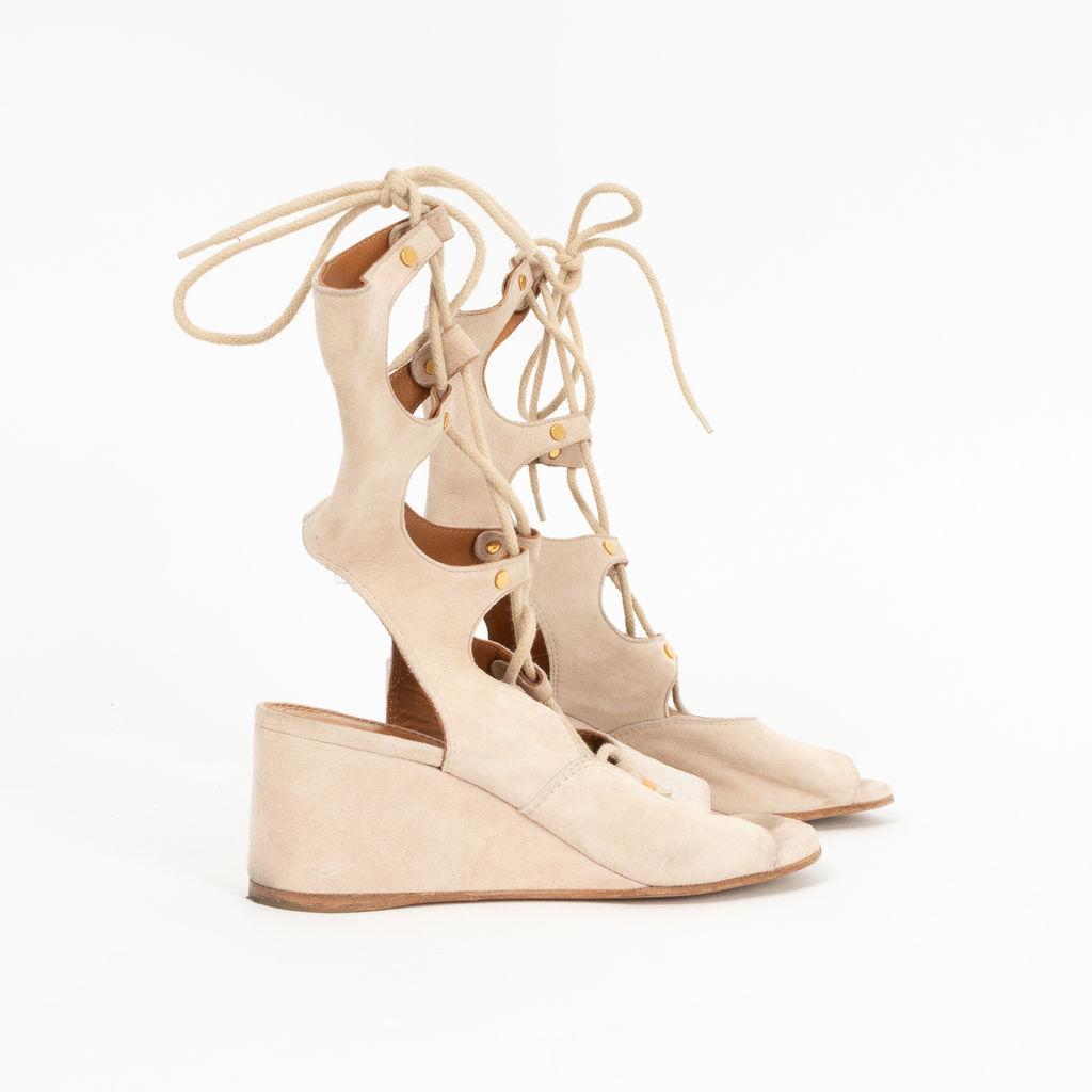 Chloe Gladiator Lace-Up Wedge Sandals