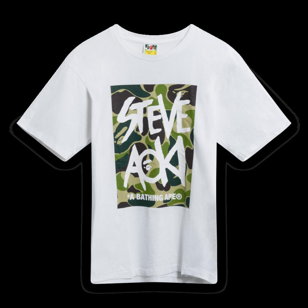 BAPE x Steve Aoki Camo Box Tee in White