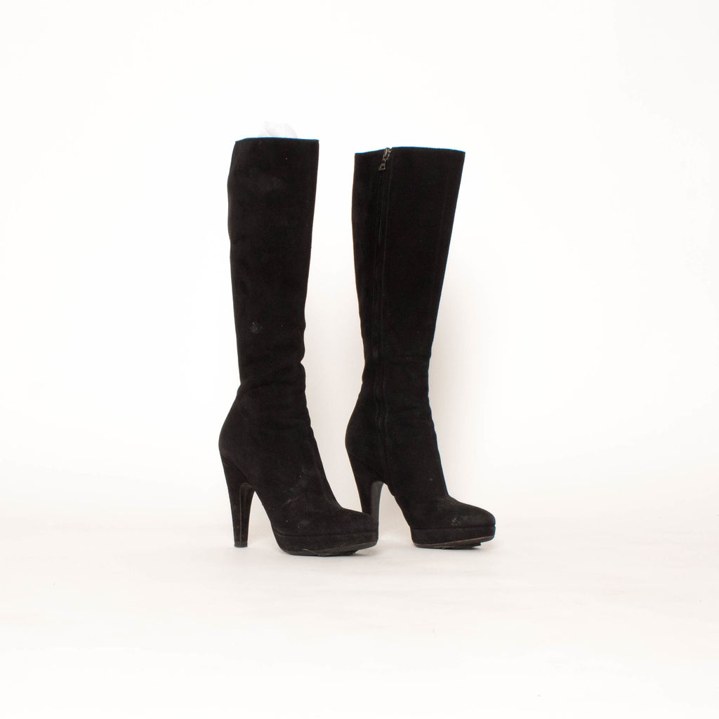 Prada Mid Calf Suede Boots