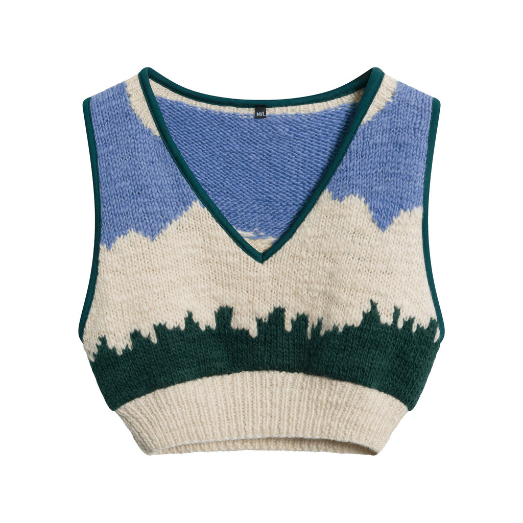 Vintage Light Blue, White, and Green Knit Wool Sweater vest