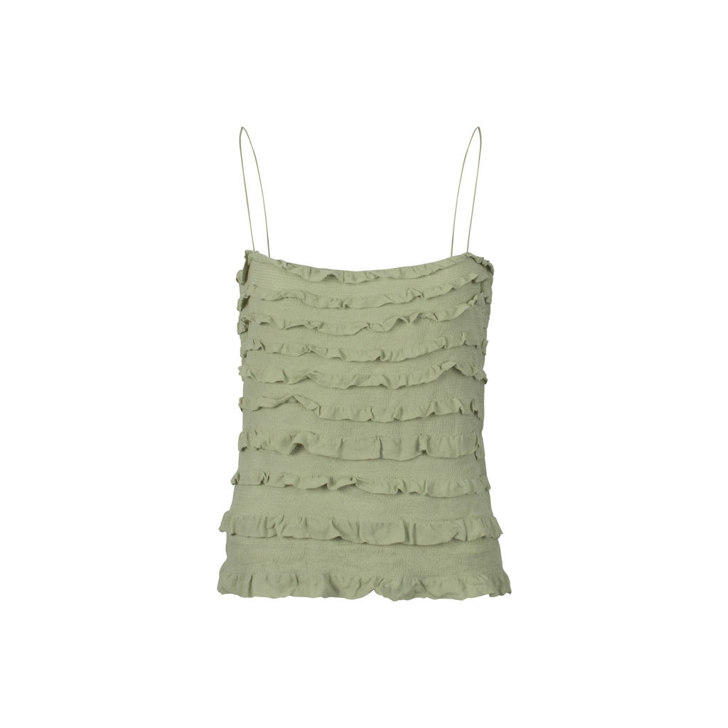 DKNY Ruffled Silk Cami- Sage