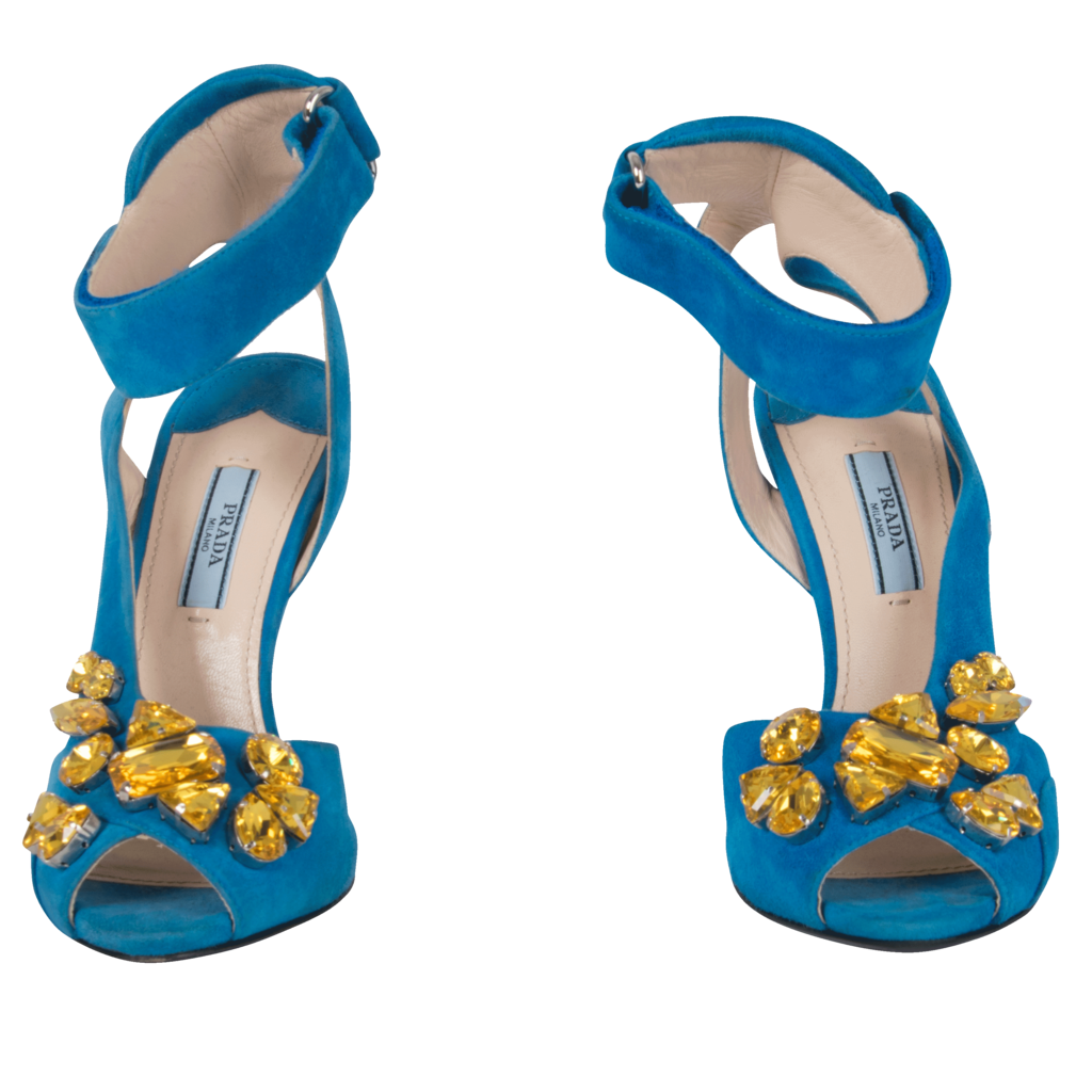 Prada Turquoise Suede Jeweled Heel