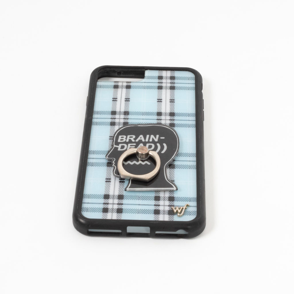 Wildflower Blue Plaid Phone Case with Brain Dead Ring Attachment