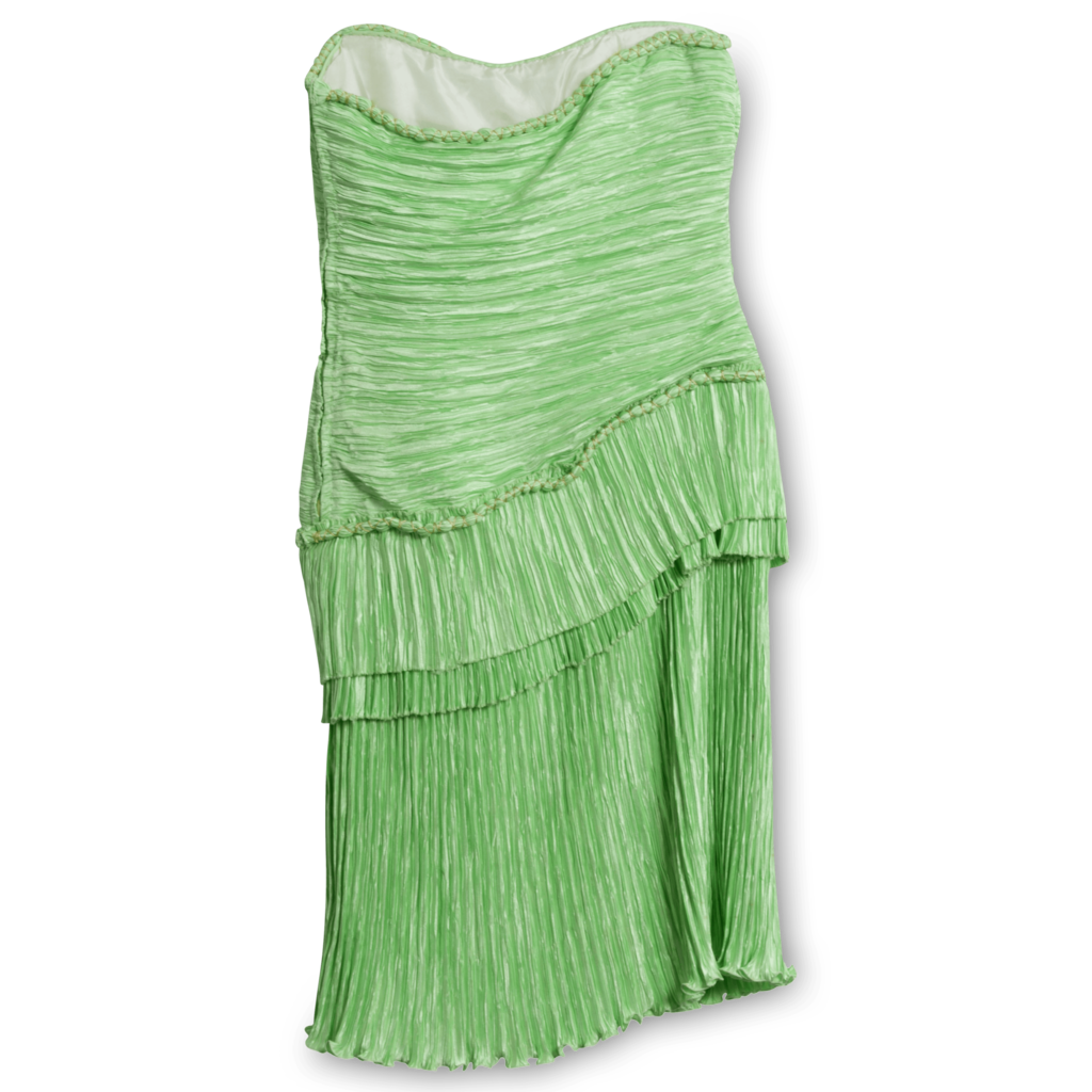 Mary McFadden Strapless Pleated Mini Dress