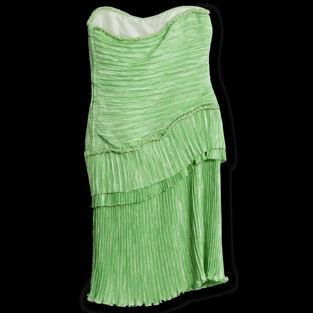 Mary McFadden Strapless Pleated Mini Dress