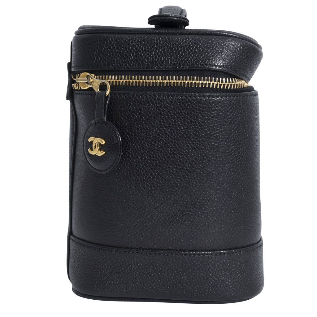 Chanel Women's Caviar Leather Vertical Cosmetic Case - Black