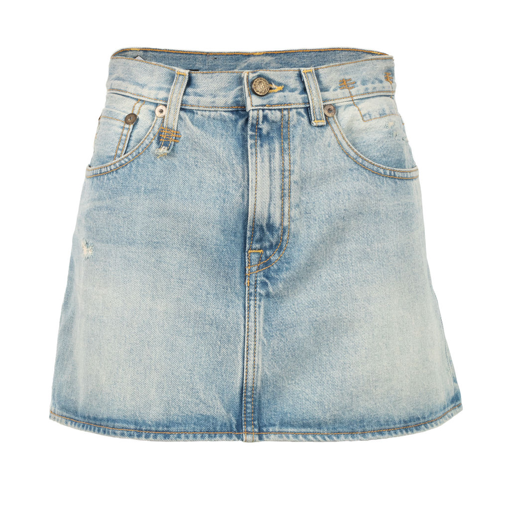 R13 Denim High Rise Mini Skirt
