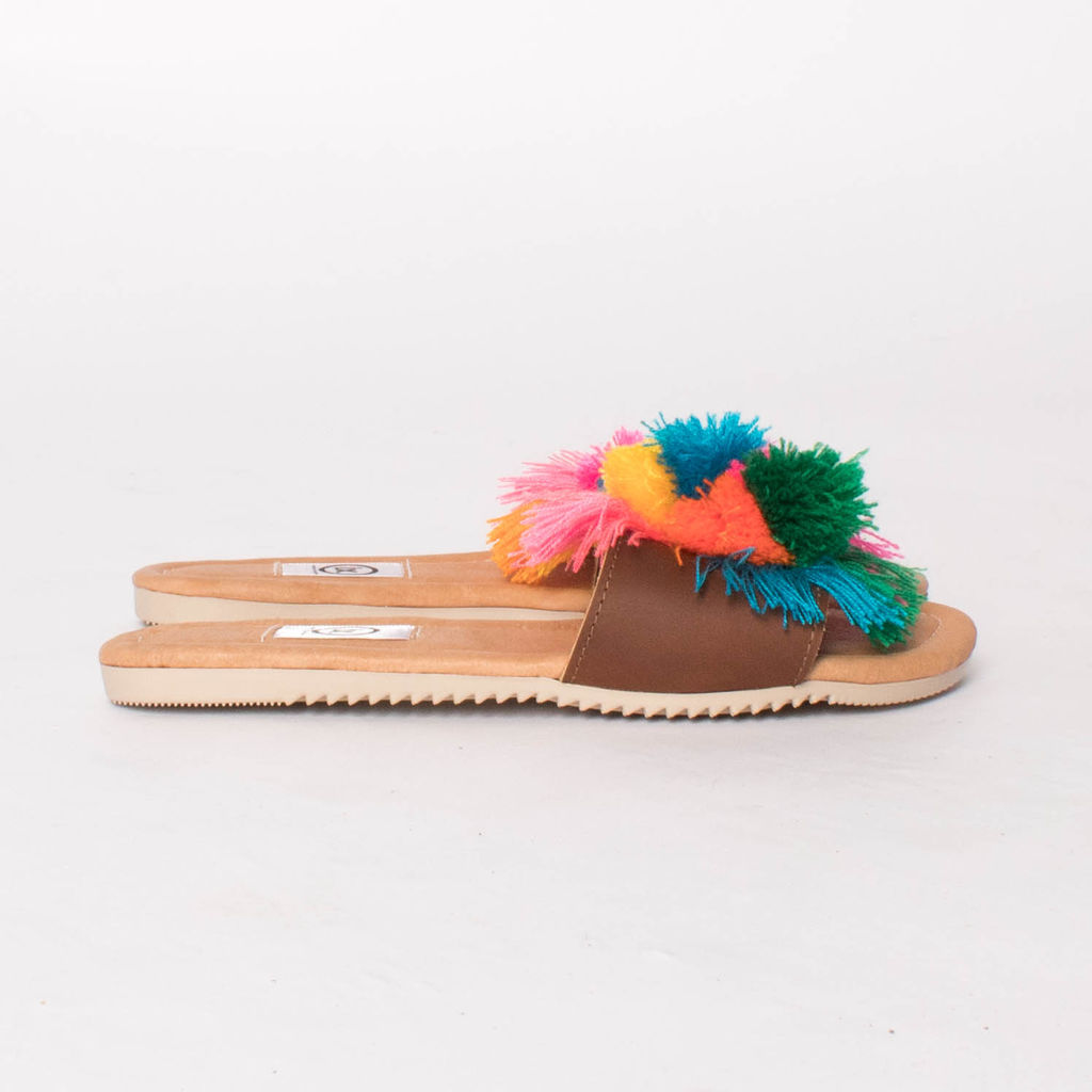 I.X. Rainbow Pom Pom Sandal