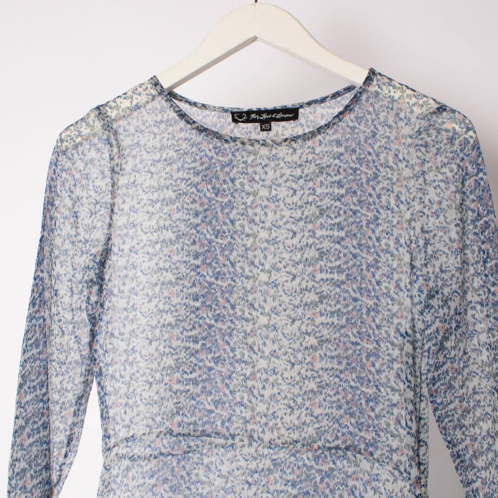 For Love & Lemons Sheer Blue Maxi Dress