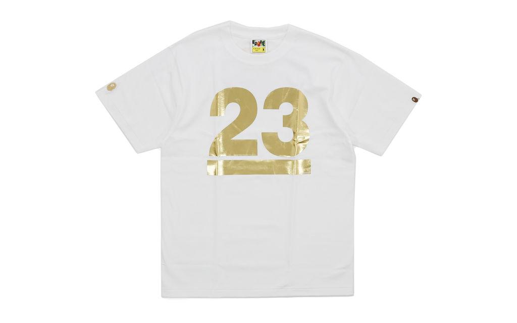 BAPE Gold Foil Logo Tee white