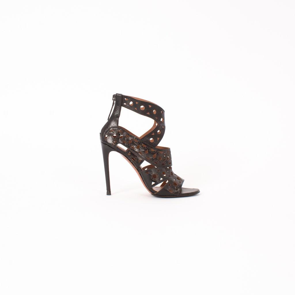 Alaia Laser Cut Embossed Heeled Sandals