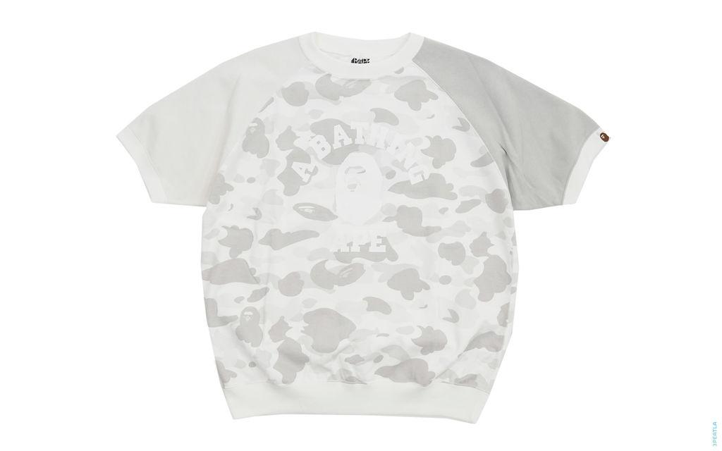 BAPE Crazy Color Camo College Logo Short Sleeve Crewneck Sweatshirt