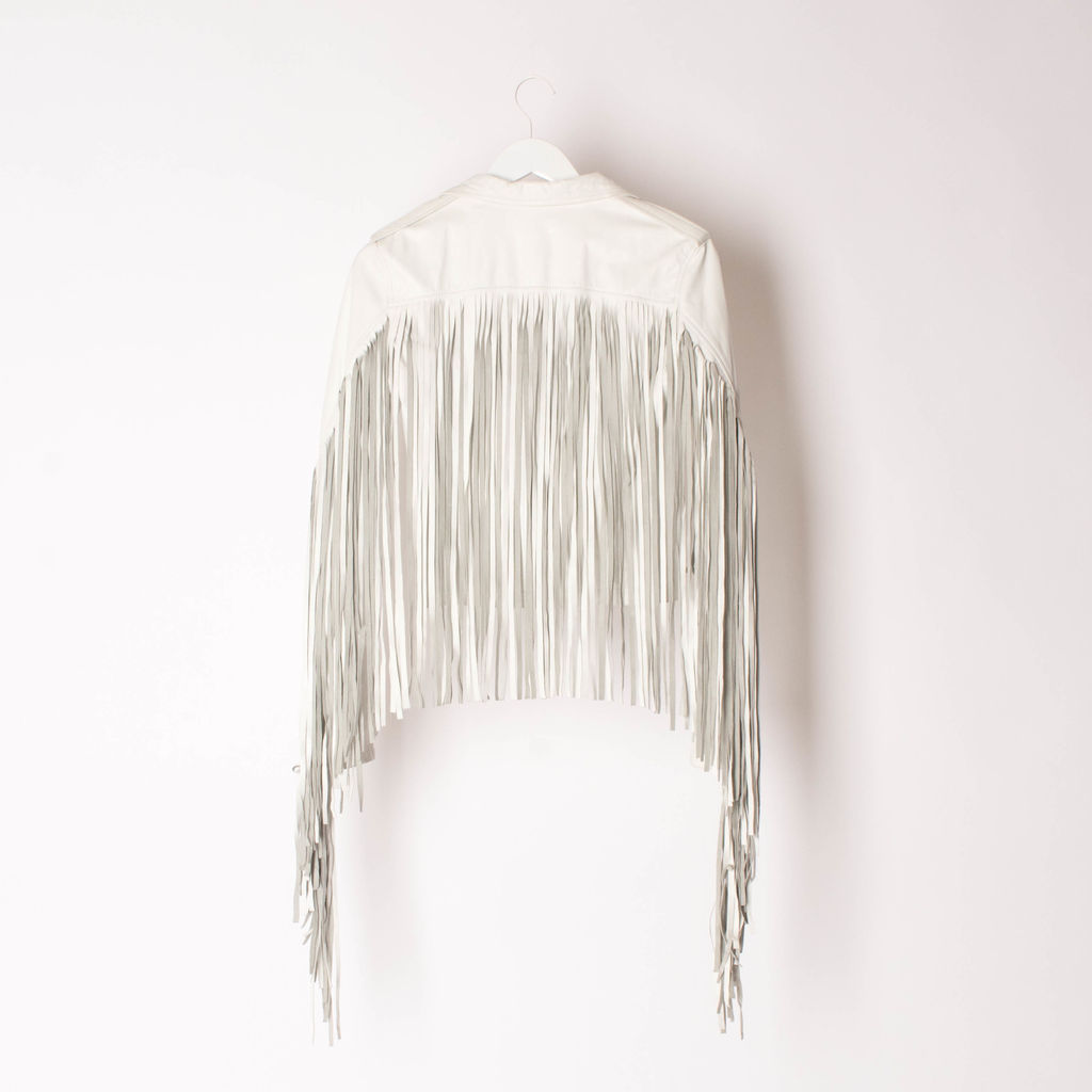 House Of Matching Colours - Women's White Fringed Nappa Leather Moto Jacket