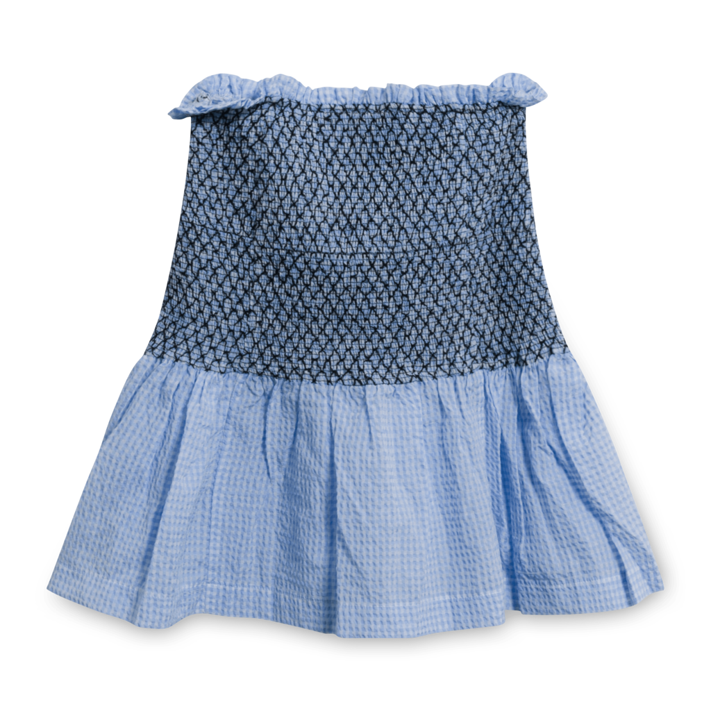 Ganni Gingham Smocked Seersucker Skirt