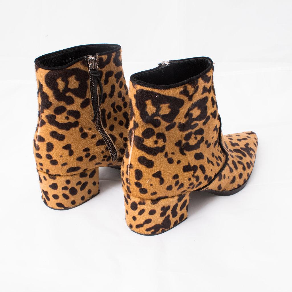 Miu Miu Ponyhair Cheetah Print Ankle Boot