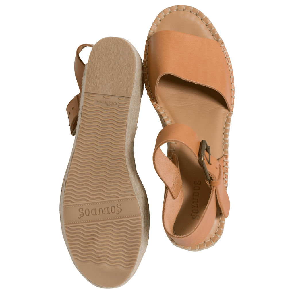 Soludos Leather Espadrille Platform Wedge Sandals in Tan