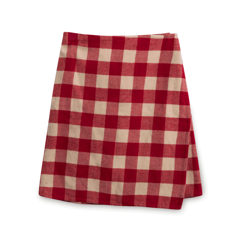 DKNY Red Checkered Blazer and Skirt