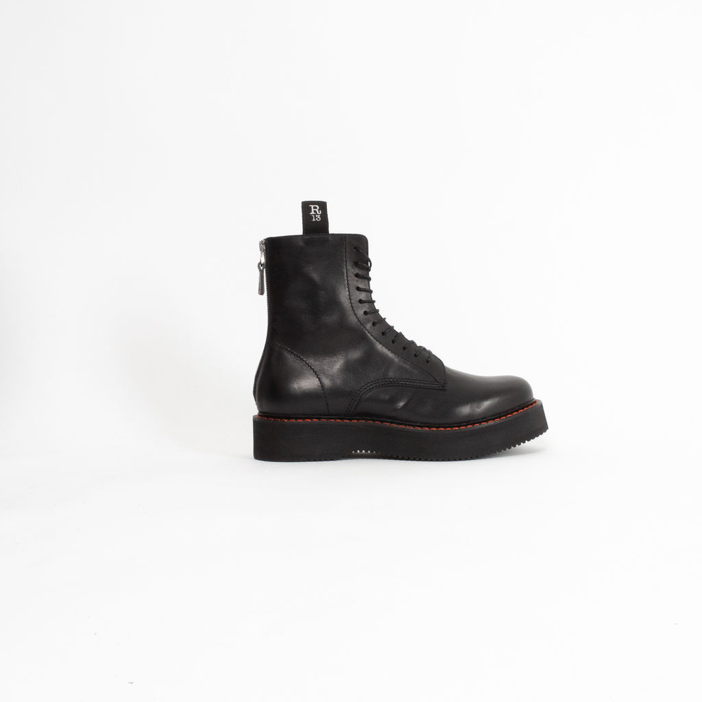 R13 Stacked Lace Up Leather Boots