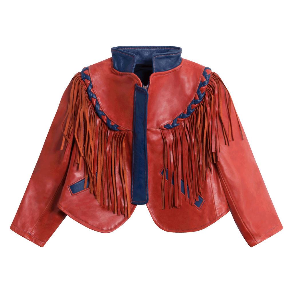 Orange Leather Fringe Jacket