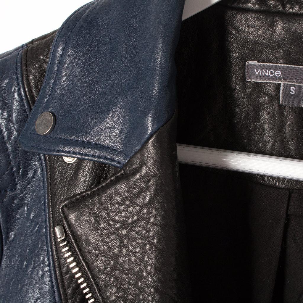 Vince Leather Jacket in Black + Blue