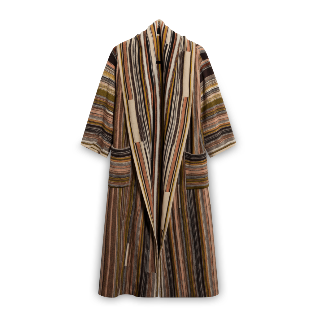 Vintage Striped Stretch-Knit Duster Coat
