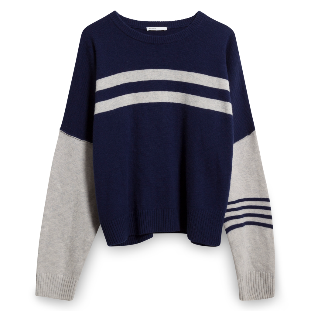 BLDWN Striped Knit Pullover in Navy/Heather