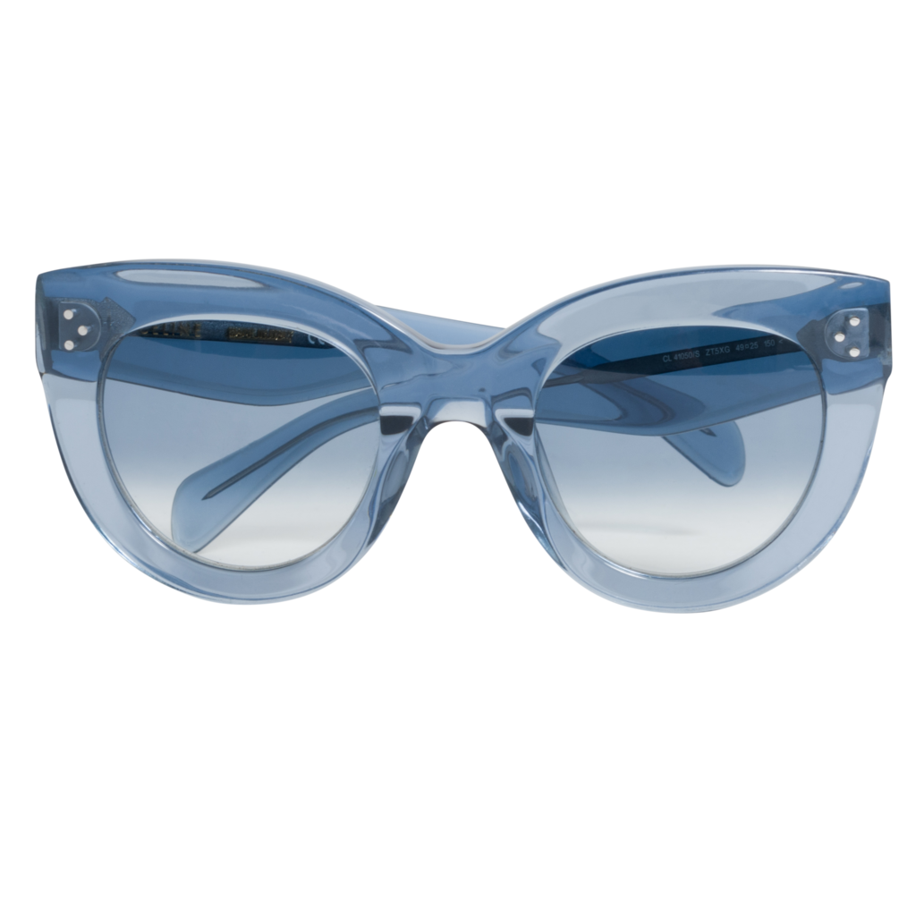 Celine Baby Audrey Cat-Eye Acetate Sunglasses in Clear Blue