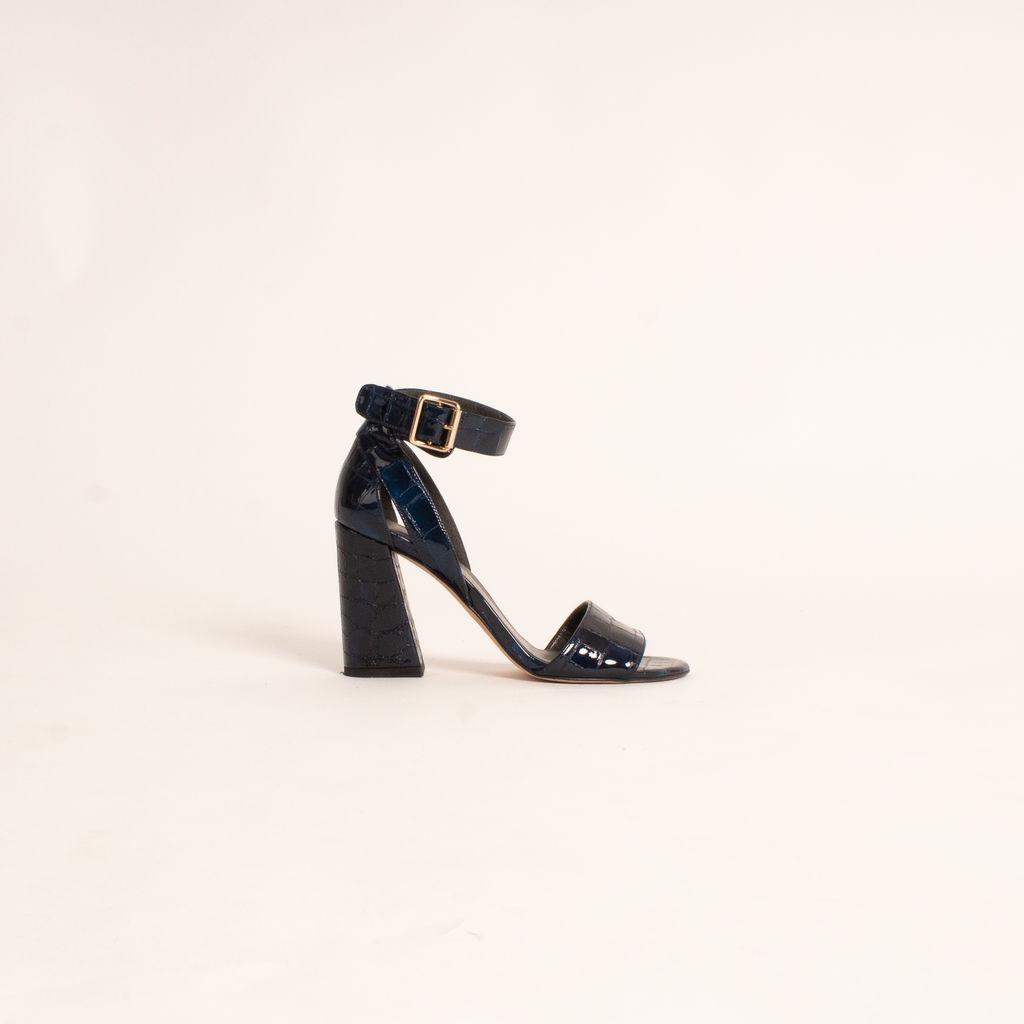 Stuart Weitzman Mostly Blue Croc-Embossed Heeled Sandals
