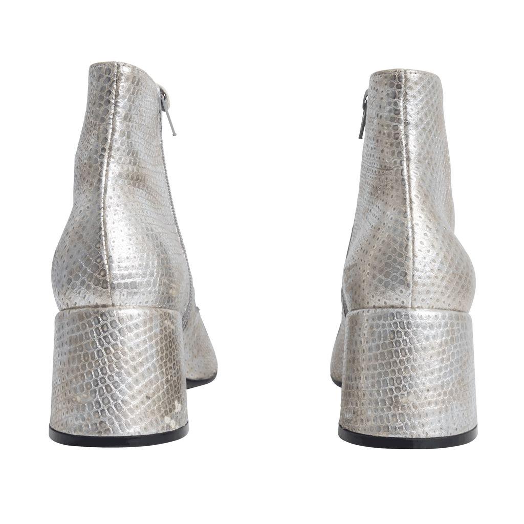 Maison Margiela Silver Ankle Boots with Blue Trim