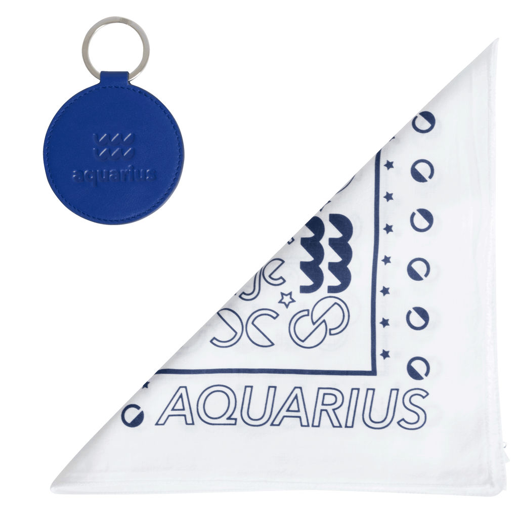 DOOZ Aquarius Bandana + Keychain Set in White