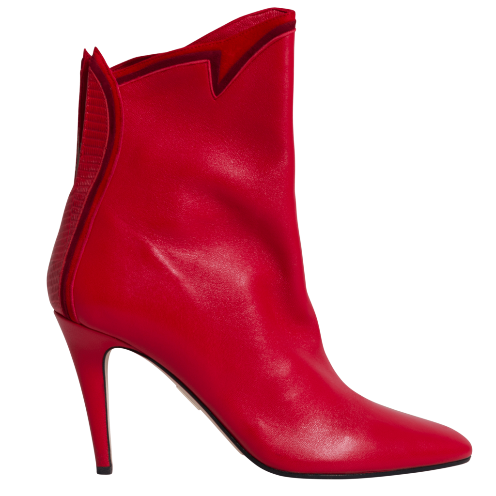 Tamara Mellon Bonfire High-Heel Ankle Boots in Red