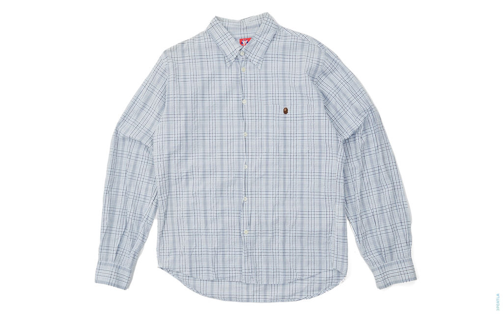 Plaid Apehead Crumpled Button-Up Shirt white light_blue