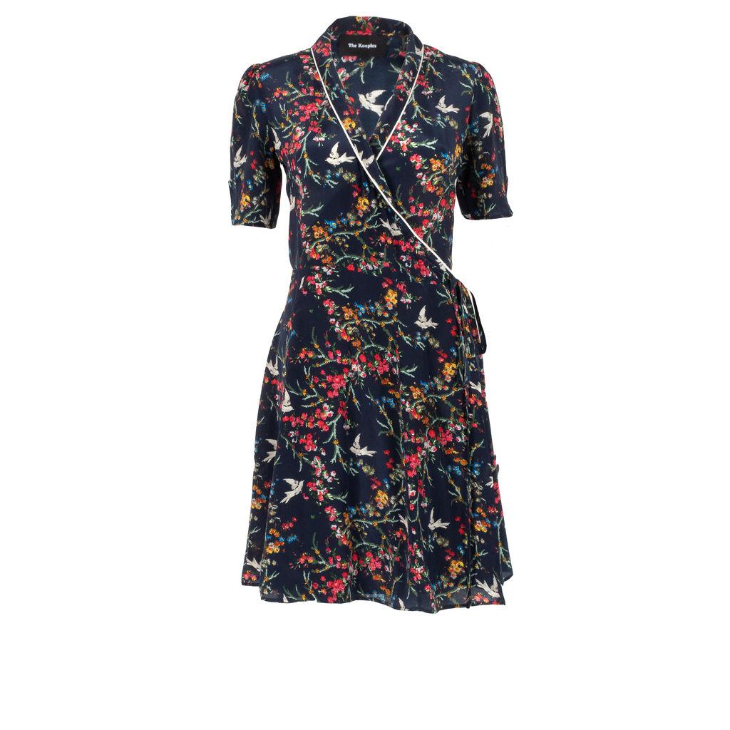 The Kooples Floral & Avian Printed Wrap Dress