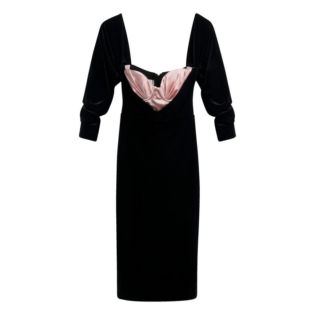 House of CB- Black & Blush Velvet Corset Dress