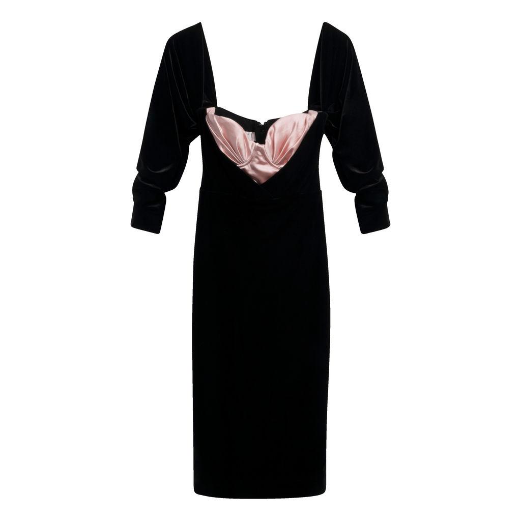 House of CB- Black & Blush Velvet Corset Dress