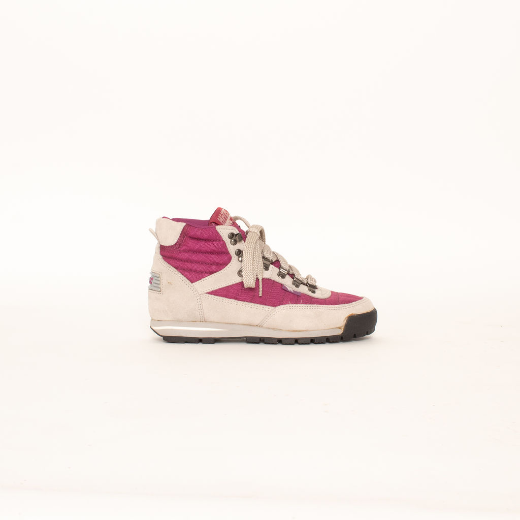 Vintage Hi-Tec Lady Nouveau Two Tone Purple Canvas and Leather Hi-Top Ankle Hiking Boots curated by Henrik PURIENNE