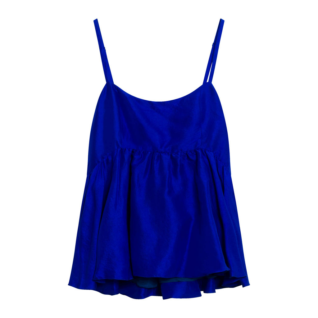 Rachel Raw Silk Top - Cobalt