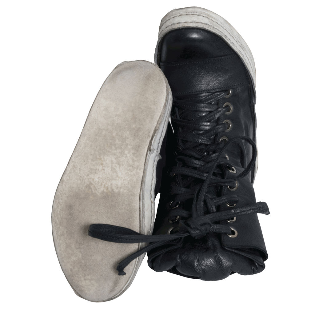 James Kearns 10 Hole Washed Black Leather Shoes with White Sole