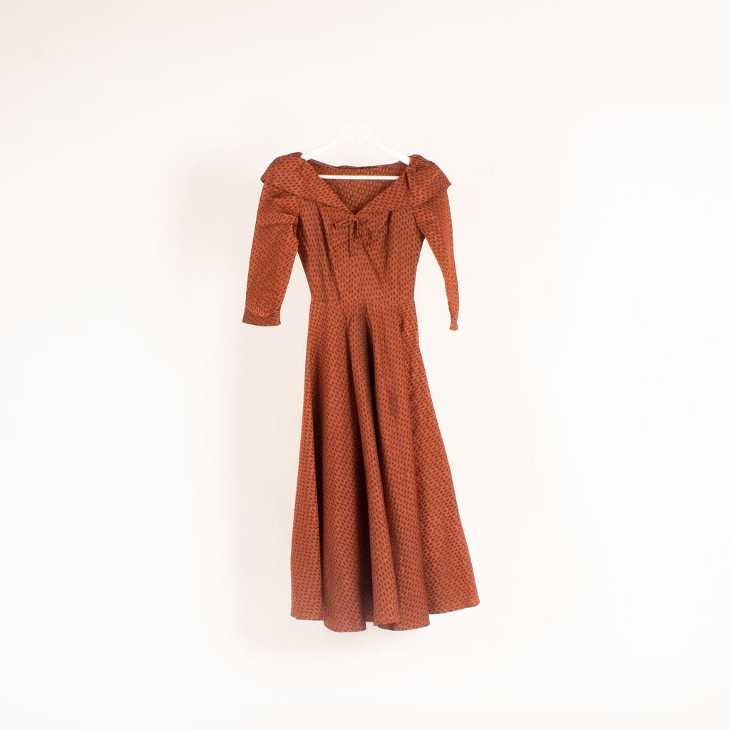 Vintage Boatneck Jacquard Evening Dress