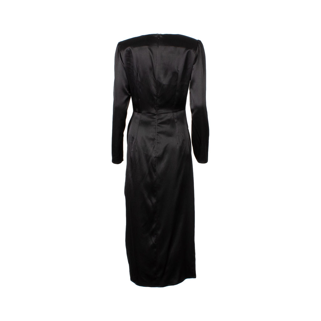 Musier Paris Carmen Padded Shoulder Midi Dress