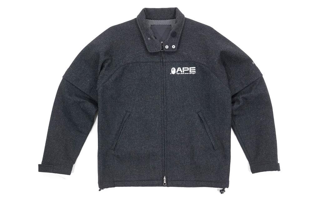 BAPE Windstopper Wool Convertible Sleeve Work Jacket black